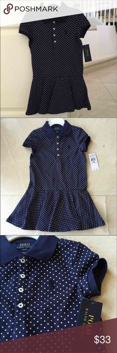 Ralph Lauren little girl dress 4T & 2T THIS IS NOT FROM FACTORY OUTLET!  Inspired by Ralph Lauren's iconic polo shirt, this cotton mesh dress is great for every day of the week as well as special occasions, pretty polka-dot pattern & comfortable drop-waist silhouette. 😍  • Four-button placket • Ribbed polo collar • Short sleeves with ribbed cuffs • Drop-waist silhouette • Circular-cut flounce skirt • Signature embroidered pony at the left chest • 98% cotton, 2% elastane  Size 4T has about…