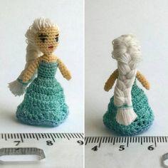 Elza amigurumi miniature doll. Tiny small chrochet by LuciaKnit