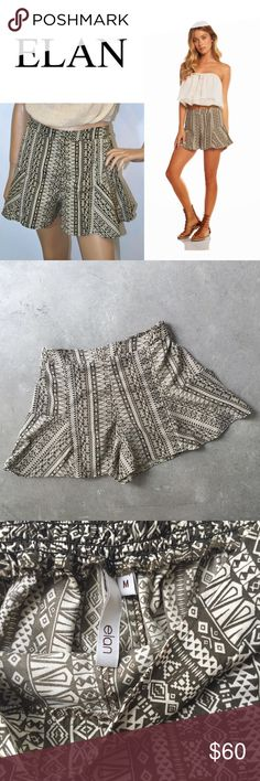25% OFF BUNDLES 💕 NWOT Elan Fit & Flare Shorts Flowy shorts in an all-over aztec print (Fiji Brown) with a stretchy waistband. Pair with a simple fitted black chiffon top and strappy sandals. • 100% polyester • Lightweight, soft construction • NWOT NEVER WORN • ZERO FLAWS OR DAMAGE • BRAND NEW! Elan Shorts