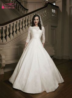 Find More Wedding Dresses Information about vestidos de noiva A Line Wedding Dress abiti da sposa Vintage Half Sleeves Lace Satin Bridal Gown robe de TB1325,High Quality gown purple,China gown store Suppliers, Cheap gowns for kids sale from Tanya Bridal Store on Aliexpress.com