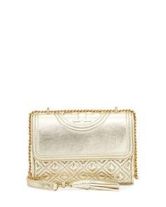 TORY BURCH Fleming Metallic Small Convertible Shoulder Bag, Spark Gold. #toryburch #bags #shoulder bags #leather #lining #metallic #