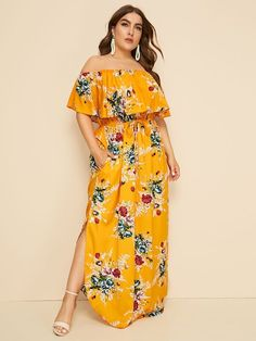 To find out about the Plus Floral Print Drawstring Waist Off Shoulder Dress at SHEIN, part of our latest Plus Size Dresses ready to shop online today! Plus Size Bohemian Dresses, Plus Size Dresses, Dresses For Sale, Plus Size Outfits, Shirred Dress, Belted Dress, Tribal Print Dress, Curvy Dress, Plus Size Fashion For Women