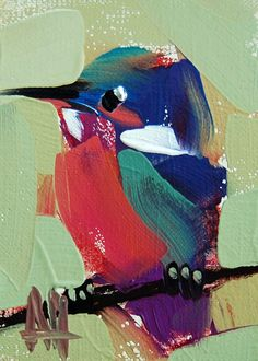Kingfisher no. 11 ACEO original Bird oil painting by Angela Moulton #Impressionism