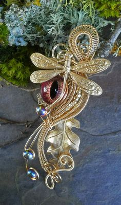 Gothic Steampunk Golden Dragonfly Red Eye Pin by twistedsisterarts