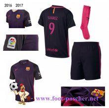 la liga: Maillots FC Barcelone Pourpre Enfant Kits (SUAREZ 9) Exterieur 2016…