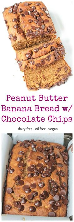 Healthy Peanut Butter Banana Bread w/ Chocolate Chips