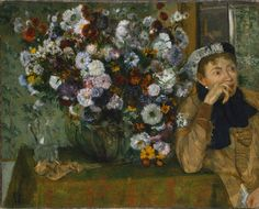 Edgar Degas , A Woman Seated Beside a Vase of Flowers, oil on canvas , 1865; the Metropolitan Museum of Art, New York