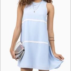 Tobi New Dawn Shift Dress - Light Blue Ivory Cute Brand new in original packing. You will look super cute in this dress. Lined, ivory stripes run around front to back. Sold out!! Tobi Dresses Mini