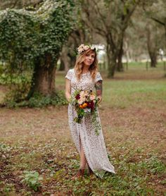 We are in love with this Florida ranch wedding + the bride's amazing vintage-find dress. Isn't it so gorgeous? Boho Wedding, Wedding Bride, Dream Wedding, Wedding Blog, Garden Wedding, Rustic Wedding, Wedding Stuff, Flower Crown Bride, Brides With Tattoos