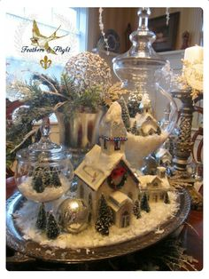 Christmas Village in glass!poco s & Flight ~Jill McCall-Marcott~Mixed Media & Digital Artist: Winter White Christmas Table Scape Noel Christmas, Winter Christmas, Vintage Christmas, Christmas Ornaments, Christmas Crafts, French Country Christmas, White Christmas Trees, Christmas Glitter, Purple Christmas