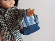Mini sac en toile bleu pour poupées