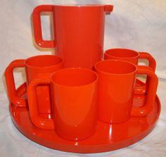 Mid-Century Heller Ware by Massimo Vignelli 6 Pc BRIGHT ORANGE Drink Set MINT+