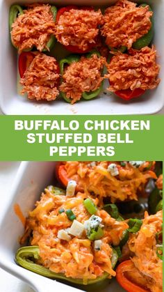 Chicken Bell Pepper Recipes, Recipes With Chicken And Peppers, Buffalo Chicken Recipes, Healthy Buffalo Chicken, Pepper Chicken, Buffalo Chicken Stuffed Peppers, Easy Stuffed Peppers, Easy Healthy Recipes, Low Carb Recipes