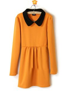 Yellow Cotton Lapel Winter Long Sleeve Dress - Sheinside.com
