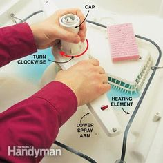 How to Repair a Dishwasher--to clean sprayer arm, unscrew the cap, turning clockwise, and lift off.