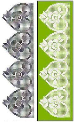 A bunch of filet crochet lace heart edgings with graphs Crochet Lace Edging, Crochet Borders, Crochet Cross, Thread Crochet, Crochet Trim, Irish Crochet, Crochet Doilies, Patron Crochet, Crochet Hearts