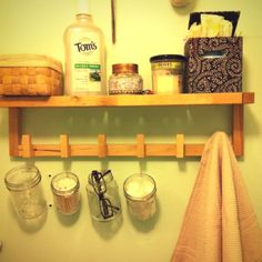 Bathroom organization with hanging jars