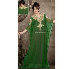 Green Faux Georgette Designer Arabic Kaftan
