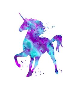 Unicorn print pink purple aqua unicorn by FluidDiamondArt on Etsy