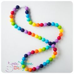 Baby Silicone Teething Necklace - Fully Bead Rainbow Necklace - Chew Necklace - Chewelry - Chewable Necklace - Babywearing - Baby Shower on Etsy, $27.19 CAD