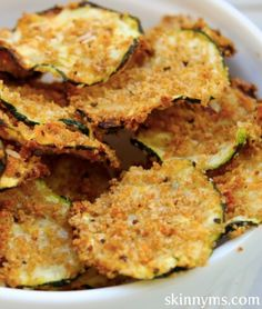 Oven baked zucchini chips/ amazing for a cocktail hour or even just a fun crunch with friends/ not the healthiest alternative but defiantly a fun and funky way to slowly Incorporate veggies into your diet - Champion K.