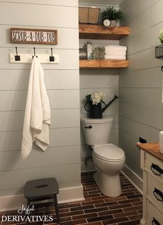 Farmhouse Bathroom | Shiplap Walls | Floating Shelves