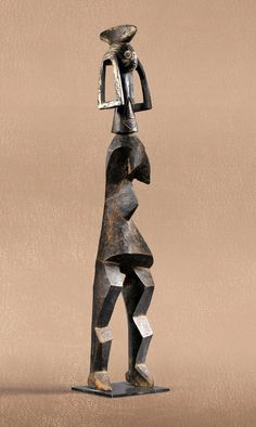 Africa | Statue from the Mumuye people of Nigeria | Wood | ca. early to mid 1900s