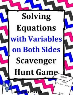 My students love these scavenger hunts. I have never seen them so actively engaged and excited about solving equations with variables on both sides. It is self-checking and allowed me to work with students who needed remediation. 8th Grade Math, Math Class, Math Skills, Math Teacher, Teaching Math, Math Lessons, Teaching Resources, Algebra 1 Textbook, Solving Linear Equations