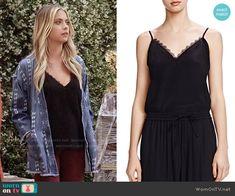 Hanna's black lace trim cami on Pretty Little Liars.  Outfit Details: https://wornontv.net/58476/ #PLL  Buy it here: http://wornon.tv/36836