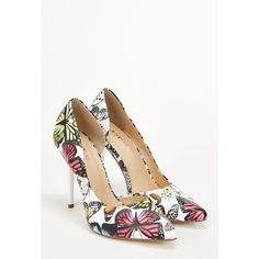 Justfab Pumps Lexie ($40) ❤ liked on Polyvore featuring shoes, pumps, apparel & accessories, white multi, print shoes, white platform shoes, white high heel pumps, denim shoes and justfab shoes