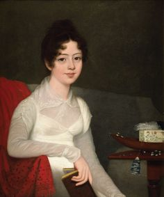 Portrait of a young lady seated by her work table -- Robert Home