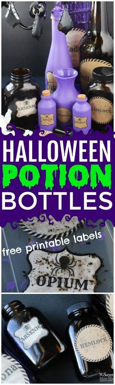 Creepy cool Halloween potion bottles make the perfect party decor! (Free printable labels and easy step-by-step photo instructions inside) via @https://www.pinterest.com/soccermomblog