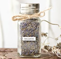 Upcycle a salt shaker with dried lavender and essential oil to create an easy way to freshen the air in any room. | By Christen Hammons in Willow and Sage