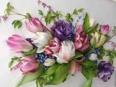 Wonderful Ribbon Embroidery Flowers by Hand Ideas. Enchanting Ribbon Embroidery Flowers by Hand Ideas. Ribbon Embroidery Tutorial, Simple Embroidery, Embroidery Patterns Free, Silk Ribbon Embroidery, Embroidery For Beginners, Embroidery Stitches, Embroidery Designs, Embroidery Art, Ribbon Art