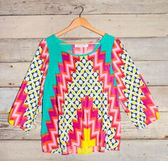 Colorful Multi Print Top with 3/4 Sleeves – Deep South Pout