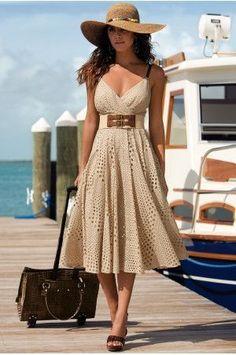 lady sun hat&suit case&vacation dresses... | Street Fashion