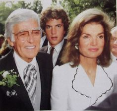 forever-jack-and-jackie-kennedy:  thosekennedys:  September 17, 1983: Jackie and John Kennedy with Peter Lawford attend Sidney Lawford's wed...