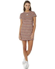 Features: Style: Womens Dress Colour: Rainbow Stripe Material: Cotton Fit Type: Slim tee style Detail: High rounded neckline Detail: All-over stripe print Detail: Embroidered logo detailingSize + Fit Guide: Model's Height: 175cm Model's Bust: 86cm Model's Waist: 60cm Model's Hips: 81cm Model wears a Size: 8