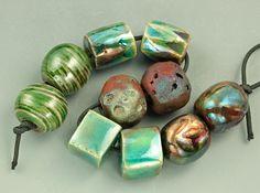 Raku Bead Mix by elementspottery on Etsy, $20.00
