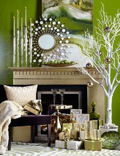 Weihnachtsdeko kamin Weiß Grün gold birnen kerzenhalter weißer baum