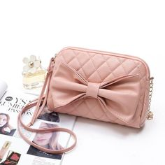 """Brenda"" - Leather Bowknot Shoulder Purse - Sophistication and Class - Black, Pink, Bone Leather Crossbody Bag, Leather Purses, Leather Bag, Key Chain Holder, Types Of Bag, Womens Purses, Shoulder Purse, Cross Body, Satchel"