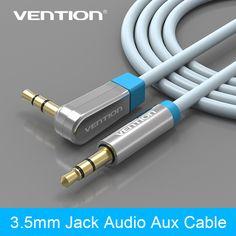 Vention 3.5mm 90 grados de ángulo recto del cable de los auriculares de audio aux cables masculinos a macho cables digitales jack 3.5 para iphone 4 5 6 s