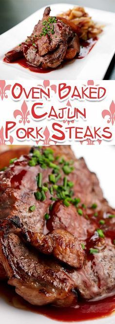 Recipe for Oven Baked Cajun Pork Steaks - Make this tender and flavor packed Midwest BBQ favorite any time of year!