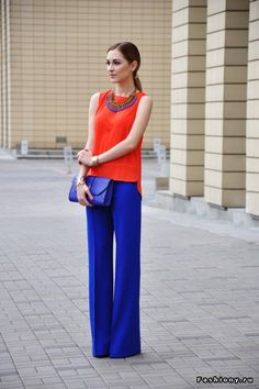 Love how bright and yet classy this outfit is! UVA colors!