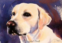 Yellow Lab watercolor original fine art dog by CrystalCookArt