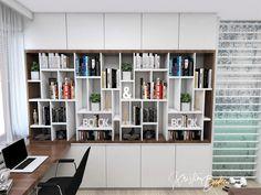 Návrh interiéru pracovne Keď práca teší, pohľad na odkladaciu časť Shelving, Bookcase, Study, Furniture, Design, Home Decor, Homemade Home Decor, Shelves, Studio