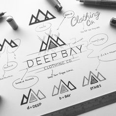 Hey all. as I'm up a mountain I thought it only right to share this project for the Awesome Deep Bay clothing Co. Wendy contacted me… Typography Logo, Logo Branding, Branding Design, Lettering, Corporate Design, Logo Sketches, Logo Desing, Logo Process, Symbol Logo