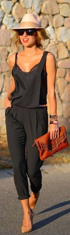 { Cute black jumpsuit } summer outfits womens fashion clothes style apparel clothing closet ideas hat brown purse pants top I want to b slim enough to wear this!