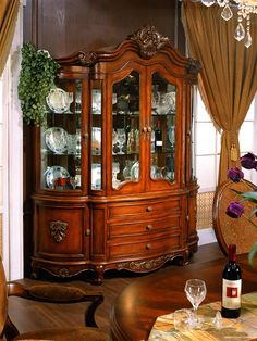 The Chardonnay Formal Dining Room Collection in Antique Walnut by Orleans International Modern Bedroom Design, Master Bedroom Design, Marble Top Dining Table, Dining Tables, Dining Area, Stone Backyard, Victorian Furniture, Antique Furniture, Victorian Living Room