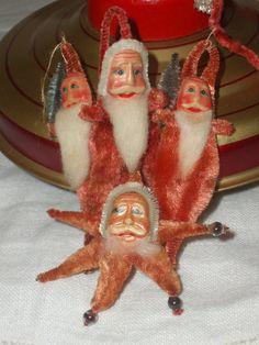 Vintage chenille Santas